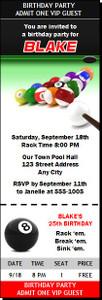 Billiards Birthday Party Ticket Invitation