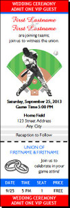 Baseball Slugger Wedding Ticket Invitation
