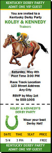 Kentucky Derby Party Ticket Invitation Design 2