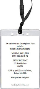 Kentucky Derby Party VIP Pass Invitation Design 2 Back