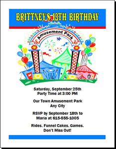 Amusement Park Birthday Party Invitation