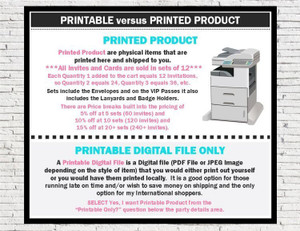 Product Type Printable versus Printed