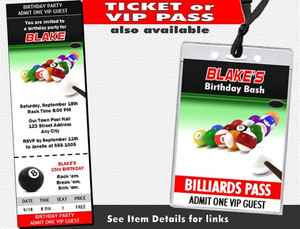 Billiards Birthday Party Invitation Other Styles