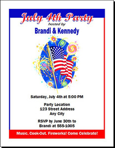 American Flag 4th of July Party Invitation