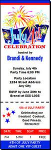 4th of July Celebration Ticket Invitation