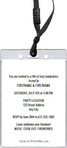 4th of July Party VIP Pass Invitation Back