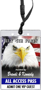 American Eagle 4th of July Party VIP Pass Invitation Front