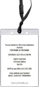 American Eagle 4th of July Party VIP Pass Invitation Back