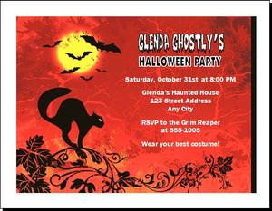 Black Cat Halloween Party Invitation