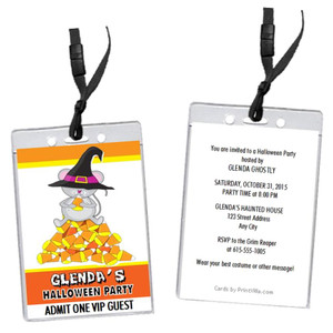 Candy Corn Mouse Halloween Party VIP Pass Invitation