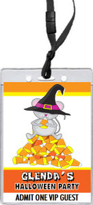 Candy Corn Mouse Halloween Party VIP Pass Invitation Front