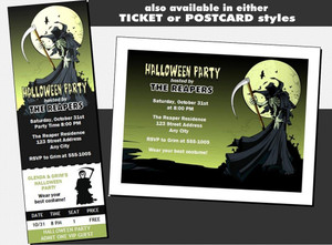 Grim Reaper Halloween Party VIP Pass Invitation Other Styles