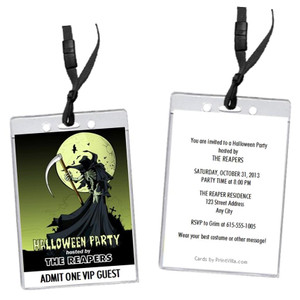 Grim Reaper Halloween Party VIP Pass Invitation
