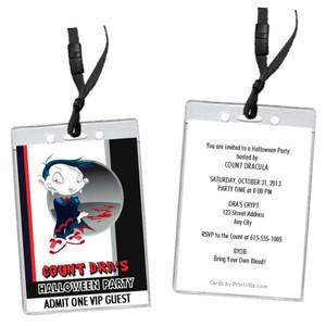 Vampire Cartoon Halloween Party VIP Pass Invitation