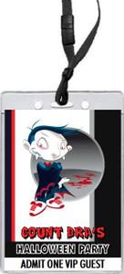 Vampire Cartoon Halloween Party VIP Pass Invitation Front