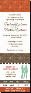 Autumn Retro Flower Lesbian Wedding Ticket Invitation Butch-Femme