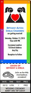 Rainbow Lesbian Wedding Ticket Invitation