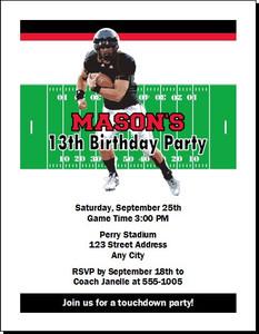 Cincinnati Bearcats Colored Football Birthday Party Invitation