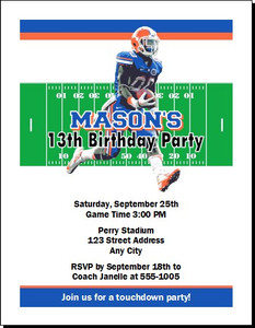 Florida Gators Colored Football Birthday Party Invitation