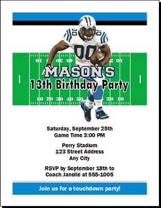 Carolina Panthers Colored Football Birthday Party Invitation