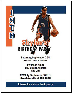 Charlotte Bobcats Colored Basketball Party Invitation