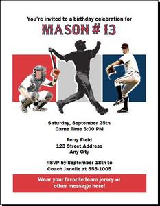 Boston Red Sox Colored Birthday Party Invitation