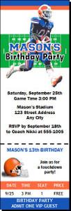Florida Gators Colored Football Ticket Invitaton