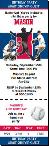 Atlanta Braves Colored Baseball Birthday Party Ticket Invitation