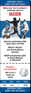 Chicago Cubs Colored Baseball Birthday Party Ticket Invitation