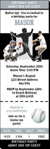 Chicago White Sox Colored Baseball Birthday Party Ticket Invitation
