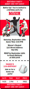 Cincinnati Reds Colored Baseball Birthday Party Ticket Invitation