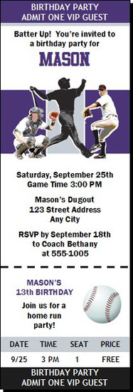 Colorado Rockies Colored Baseball Birthday Party Ticket Invitation