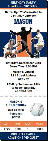 Detroit Tigers Colored Baseball Birthday Party Ticket Invitation