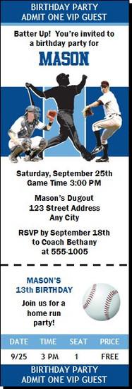 Kansas City Royals Colored Baseball Birthday Party Ticket Invitation