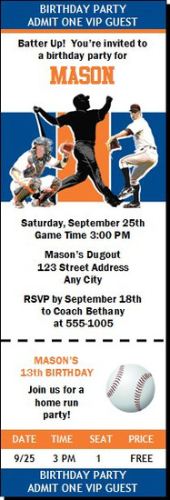 New York Mets Colored Baseball Birthday Party Ticket Invitation