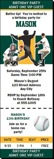 Oakland Athletics Colored Baseball Birthday Party Ticket Invitation