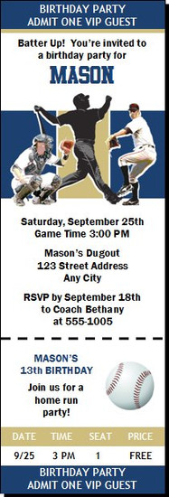 San Diego Padres Colored Baseball Birthday Party Ticket Invitation