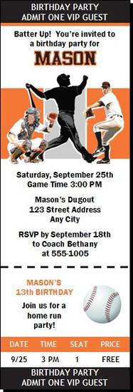 San Francisco Giants Colored Baseball Birthday Party Ticket Invitation