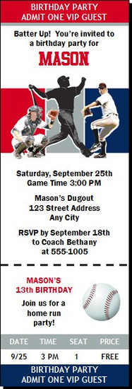 St Louis Cardinals Colored Baseball Birthday Party Ticket Invitation