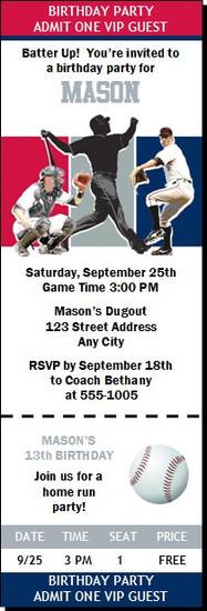 Washington Nationals Colored Baseball Birthday Party Ticket Invitation