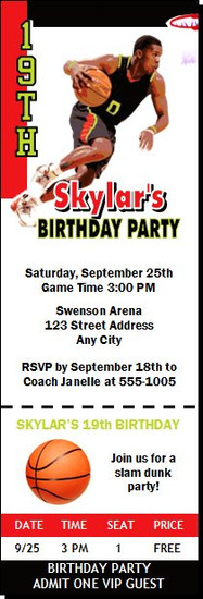 Atlanta Hawks Colored Basketball Party Ticket Invitation