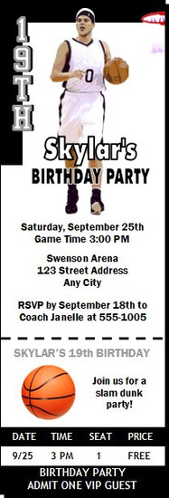 Brooklyn Nets Colored Basketball Party Ticket Invitation