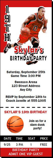 Chicago Bulls Colored Basketball Party Ticket Invitation