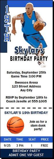 Dallas Mavericks Colored Basketball Party Ticket Invitation