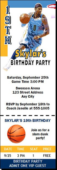 Denver Nuggets Colored Basketball Party Ticket Invitation
