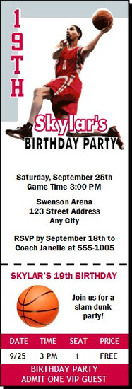 Houston Rockets Colored Basketball Party Ticket Invitation