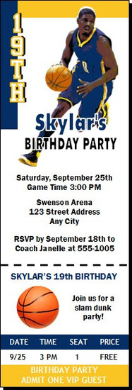 Indiana Pacers Colored Basketball Party Ticket Invitation