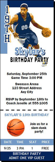 Memphis Grizzlies Colored Basketball Party Ticket Invitation