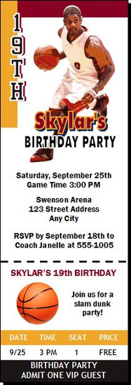 Miami Heat Colored Basketball Party Ticket Invitation