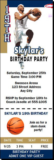 New Orleans Pelicans Colored Basketball Party Ticket Invitation